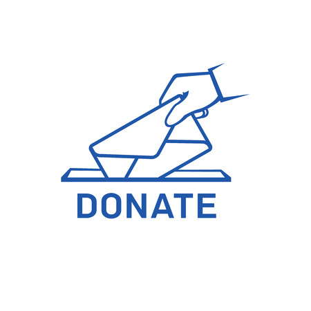 Linear sketch of human hand dropping an envelope in an abstract box with DONATE lettering for Donation concept Illustration