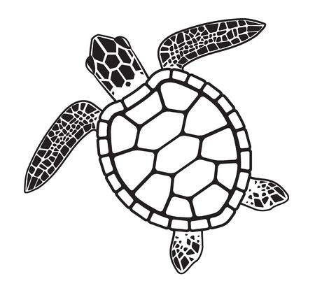 Żółw w kreskówkowej, czarno-białej ilustracji.