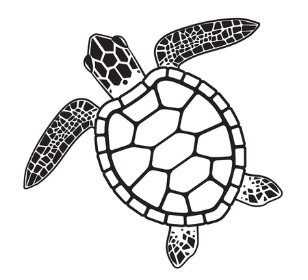 Turtle in cartoon, black and white illustration.