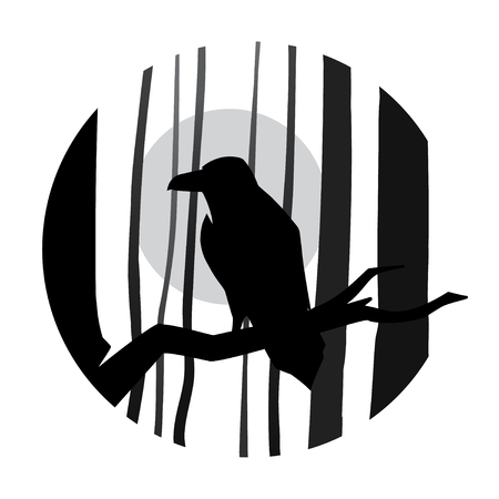Vector raven in forest  isolated on white background. Ilustracja