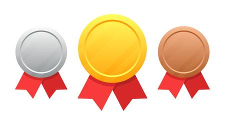 Set di medaglie Illustrazione vettoriale isolato su sfondo bianco.