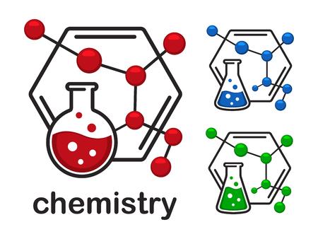 Icons chemistry on colorful presentation. Illustration