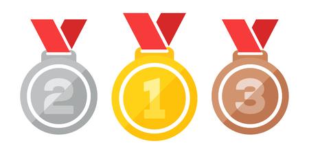 Three medals illustration. Illustration