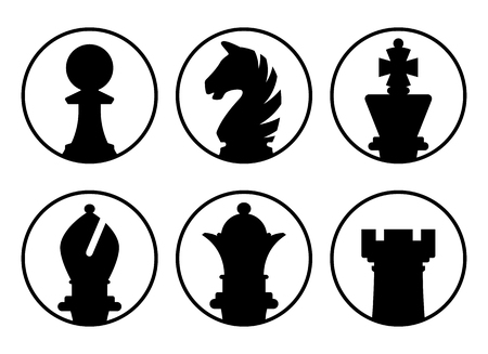 Avatars chess pieces icon black white board game