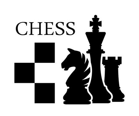 Chess logo icon black white board game Stock Illustratie