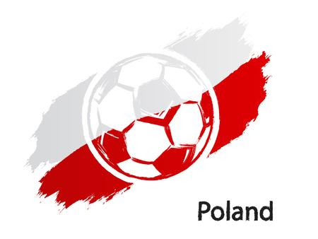 Football icon Poland flag grunge style vector illustration isolated on white  イラスト・ベクター素材