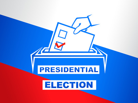 Elections of the President of Russia vector illustration. Election day, hand holding ballot form on Russian flag background