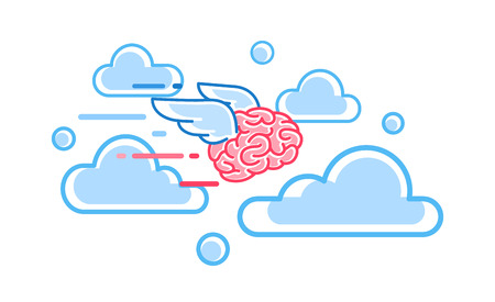 The brain flies among the clouds vector illustration. Brain drain
