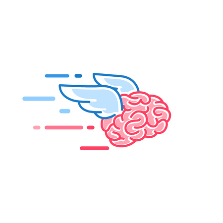 The brain with wings flies vector illustration isolated on white background. Brains of the dreamer