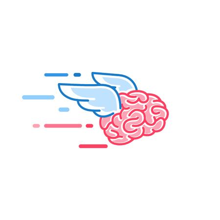El cerebro con alas vuela ilustración vectorial aislado sobre fondo blanco. Cerebros del soñador Ilustración de vector