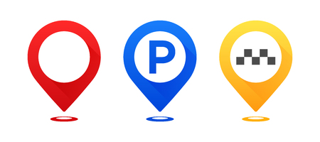 Set of colourful map pointers. Map pointer, map parking pointer, map taxi pointer. Vector icons Ilustracja
