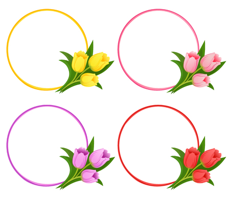 Vector floral frames with bouquets of tulips. Beautiful template for invitations, greeting cards. eps 10 Ilustracja