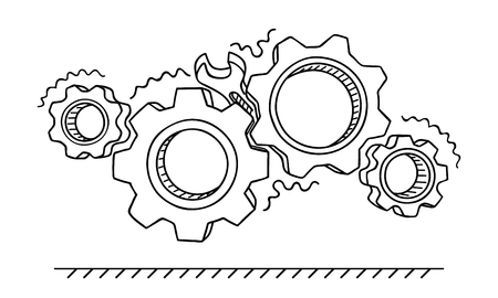 Non-working gears. Broken mechanism with a wrench vector illustration isolated on white. Jammed mechanism