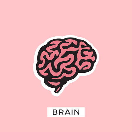 Brain Logo silhouette vector template. Think idea concept. Brainstorm  イラスト・ベクター素材