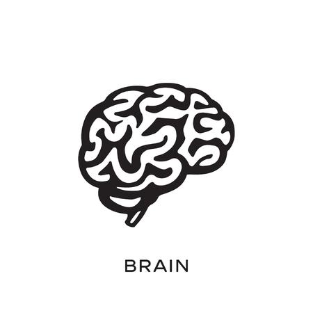 Human brain silhouette design vector illustration. Think idea concept. Brainstorm power thinking brain