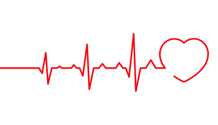 Heart pulse, cardiogram line vector illustration. Isolated on white background, Heartbeat.