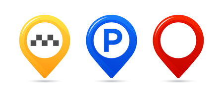 Colourful map pointers. Map pointer, map parking pointer, map taxi pointer.