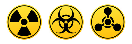 Danger vector signs. Radiation sign, Biohazard sign, Chemical Weapons Sign. Vectores