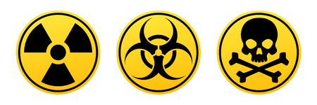 Danger yellow vector signs. Radiation sign, Biohazard sign, Toxic sign. Warning signs