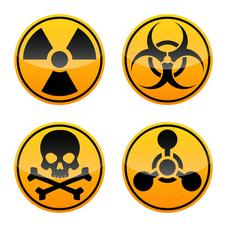 Conjunto de signos de vector de peligro. Señal de radiación, señal de peligro biológico, señal tóxica, señal de armas químicas.