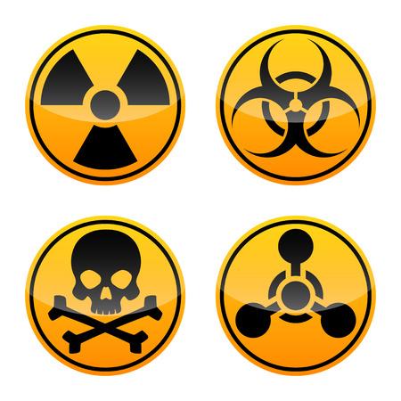 Gefahrenvektorzeichen eingestellt. Strahlungszeichen, Biohazardzeichen, Giftzeichen, Chemiewaffenzeichen.