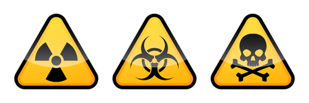 Warning vector signs. Radiation sign, Biohazard sign, Toxic sign. Stock Illustratie