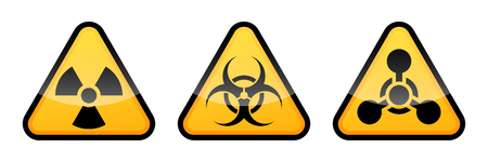 Warning vector signs set. Radiation sign, Biohazard sign, Chemical Weapons Sign. Illustration