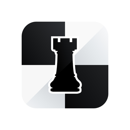Chess rook vector icon isolated on white background.
