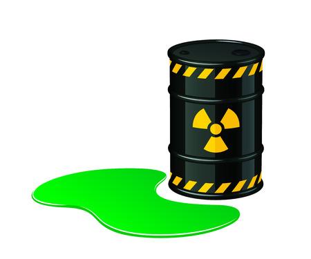 Barrel of toxic waste. Radioactive waste vector illustration isolated on white background