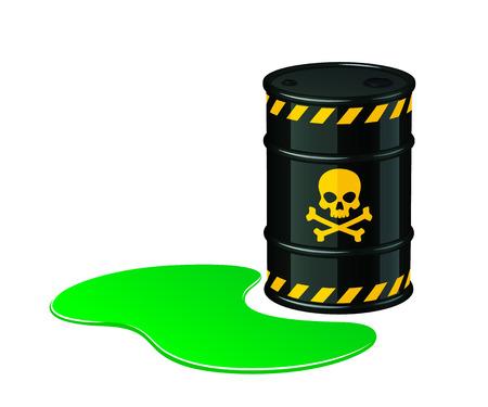 有毒廃棄物のバレル。白い背景に分離された有毒廃棄物ベクトルのイラスト。  イラスト・ベクター素材