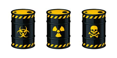 Barrels of waste vector illustration isolated on white background. Bio-hazard waste, Radioactive waste, Toxic waste.