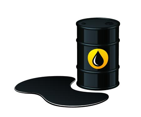 Vat olie met gemorste olie vectordieillustratie op witte achtergrond wordt geïsoleerd