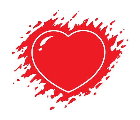 Grunge red heart vector illustration isolated on white background. Ragged heart. Ilustracja