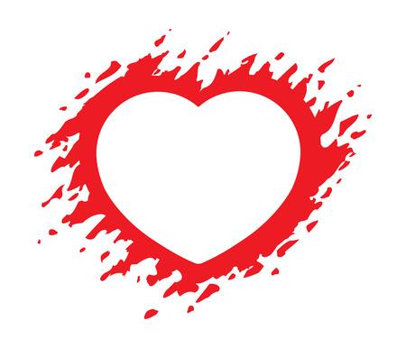 Grunge red heart shape vector illustration isolated on white background. Heart shaped frame Illusztráció