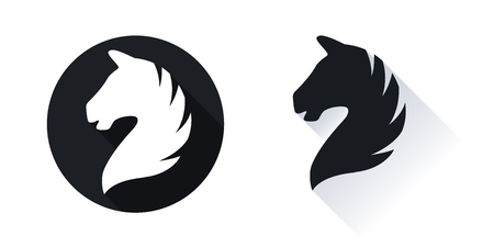 Horse head vector icon with shadow isolated on white background.
