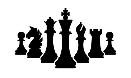 Silhouettes of chess pieces isolated on white background.