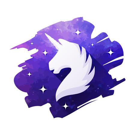 Unicorn head vector illustration isolated on white background. Silhouette of a unicorn Ilustração
