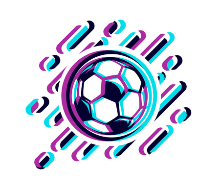 Soccer ball in a glitch effect vector illustration isolated on white background.