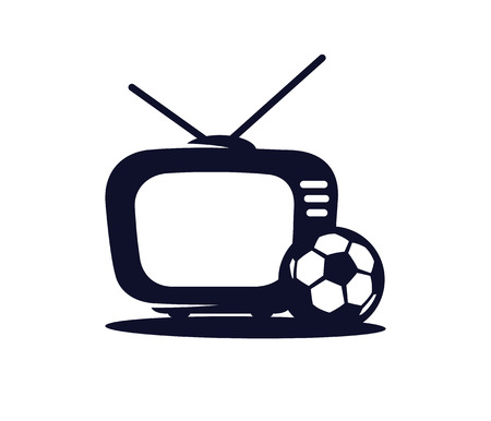 Football TV vector icon in a flat style isolated on white background. Sports TV. TV with soccer ball vector illustration. Broadcast of the football match