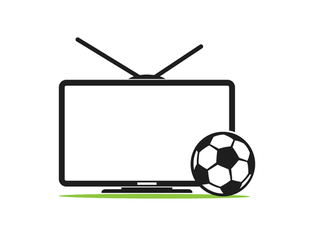 Soccer TV vector icon in a flat style isolated on white background. Football TV. Sports TV. TV with football ball vector illustration. Broadcast of the football match