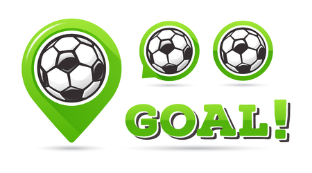 Soccer goal vector icons. Football goal. Set of football icons. Football map pointer. Football ball vector sign. Soccer ball vector sign. Scoring a goal Ilustração