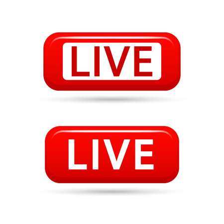 Live streaming vector signs isolated on white background. Live TV broadcasting. Live video streaming vector icon.