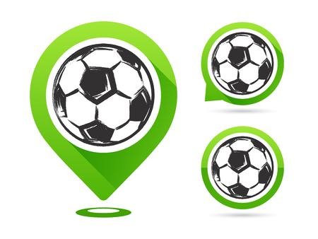 Football vector icons isolated on white background. Football goal. Set of football icons. Football map pointer. Soccer ball. Ilustração