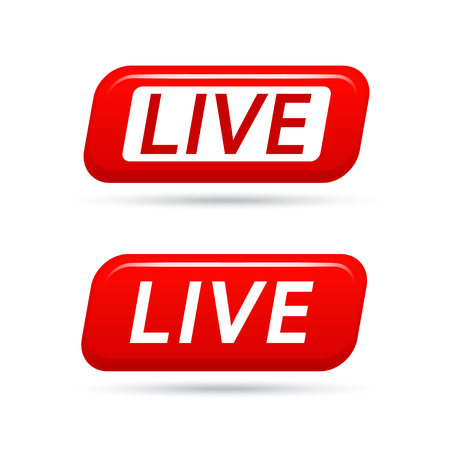 Live video streaming vector icon isolated on white background. Live TV broadcasting. Live streaming vector signs