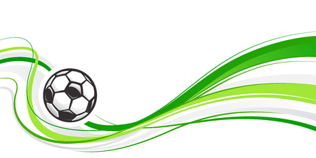 Soccer abstract background with ball and green waves. Abstract wave football element for design. Football ball. Green wavy background. Vector illustration. Ilustração