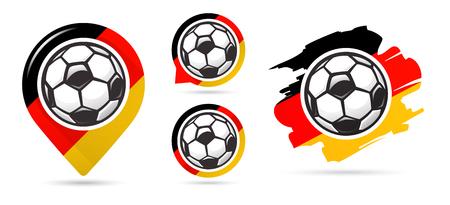 German football vector icons. Soccer goal. Set of football icons. Football map pointer. Football ball. Soccer ball vector sign. Scoring a goal