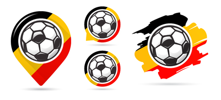 Belgian football vector icons. Soccer goal. Set of football icons. Football map pointer. Football ball. Soccer ball vector sign. Scoring a goal Иллюстрация