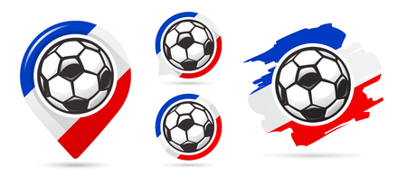 French football vector icons. Soccer goal. Set of football icons. Football map pointer. Football ball. Soccer ball vector sign. Scoring a goal