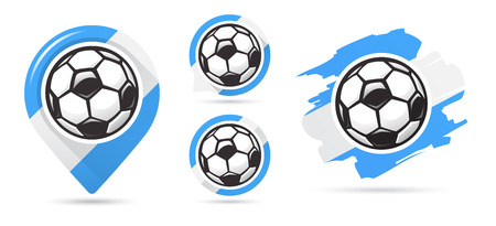 Argentinian football vector icons. Soccer goal. Set of football icons. Football map pointer. Football ball. Soccer ball vector sign. Scoring a goal Ilustração