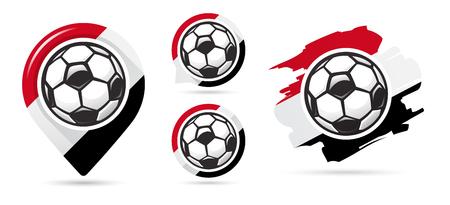 Egyptian football vector icons. Soccer goal. Set of football icons. Football map pointer. Football ball. Soccer ball vector sign. Scoring a goal Ilustração